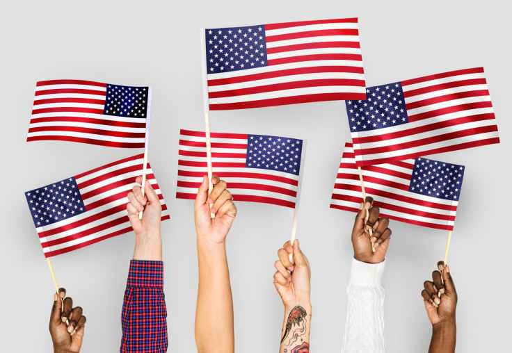 closeup photo of people holding usa flaglets hands