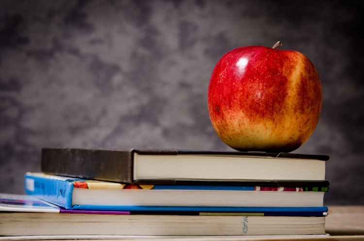 close up of apple on top of books